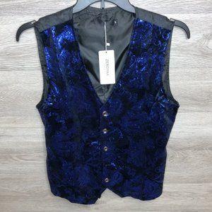 ZeroYaa Mens Medium Blue Paisley Suit Vest NEW